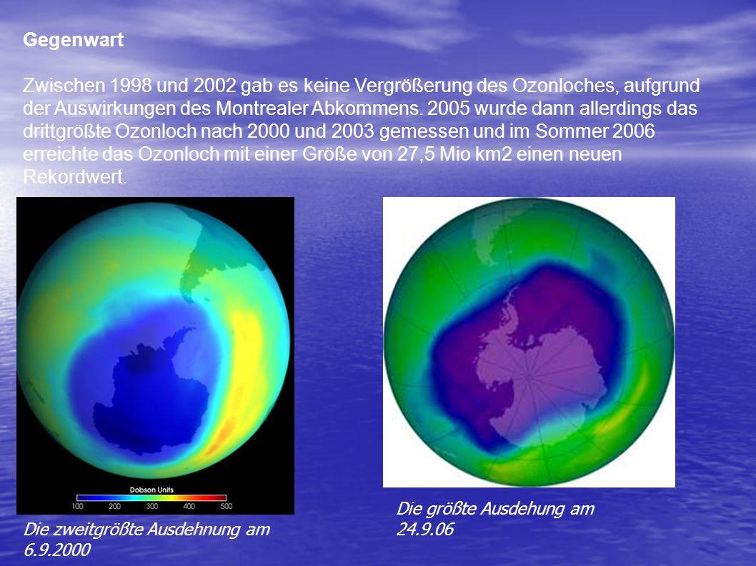 3. Die Aktuelle Situation Entwicklung in der Vergangenheit Eine Abnahme des Ozons in der Atmosphäre kann seit Mitte der 70 er Jahre beobachtet werden.