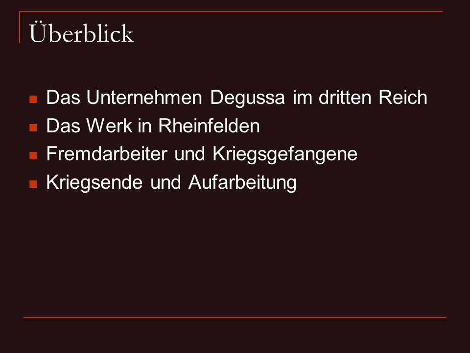 Überblick Das Unternehmen Degussa im dritten Reich Das Werk in Rheinfelden Fremdarbeiter und Kriegsgefangene Kriegsende und Aufarbeitung