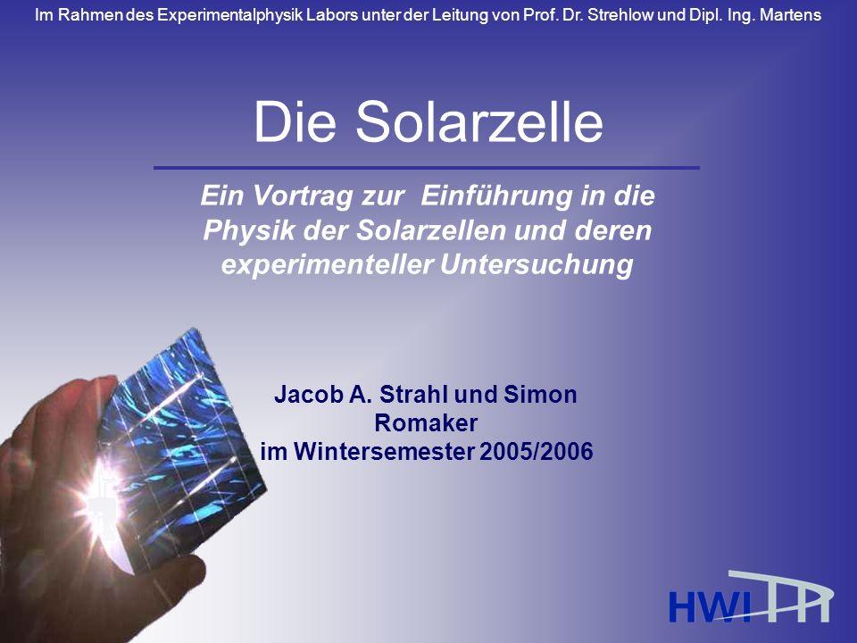 Im Rahmen des Experimentalphysik Labors unter der Leitung von Prof. Dr. Strehlow und Dipl. Ing. Martens Jacob A. Strahl und Simon Romaker im Wintersem