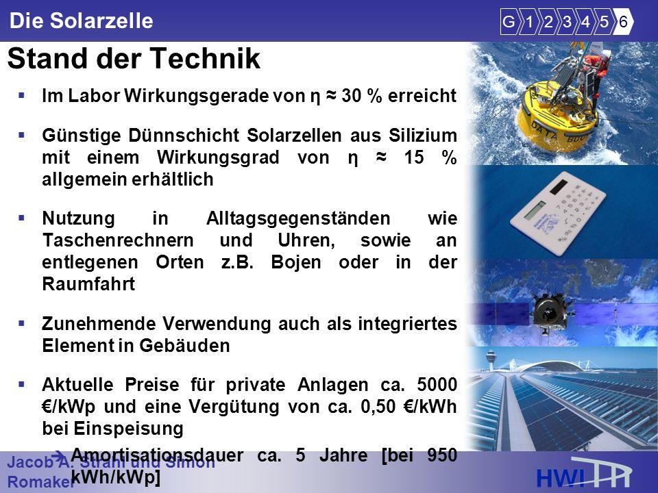 Jacob A. Strahl und Simon Romaker im Wintersemester 2005/2006 Die Solarzelle Stand der Technik Im Labor Wirkungsgerade von η 30 % erreicht Günstige Dü