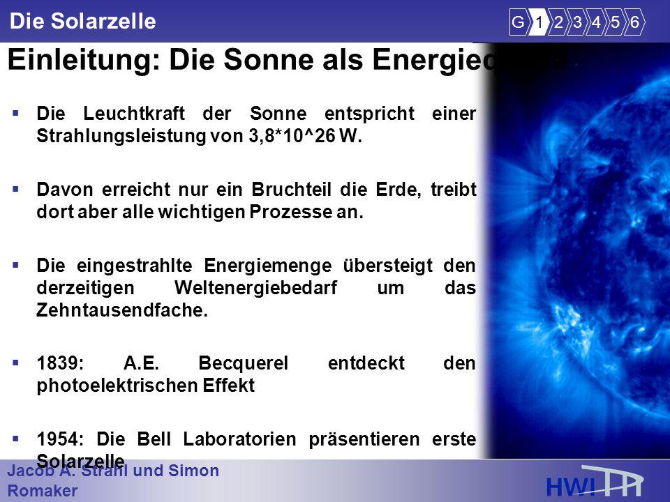 Jacob A. Strahl und Simon Romaker im Wintersemester 2005/2006 Die Solarzelle Einleitung: Die Sonne als Energiequelle Die Leuchtkraft der Sonne entspri