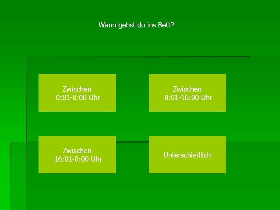 Wann gehst du ins Bett? Zwischen 0:01-8:00 Uhr Zwischen 8:01-16:00 Uhr Zwischen 16:01-0:00 Uhr Unterschiedlich
