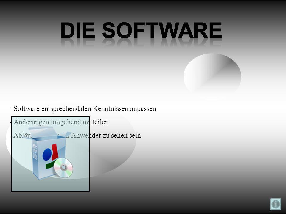 - Software entsprechend den Kenntnissen anpassen - Änderungen umgehend mitteilen - Abläufe müssen für Anwender zu sehen sein