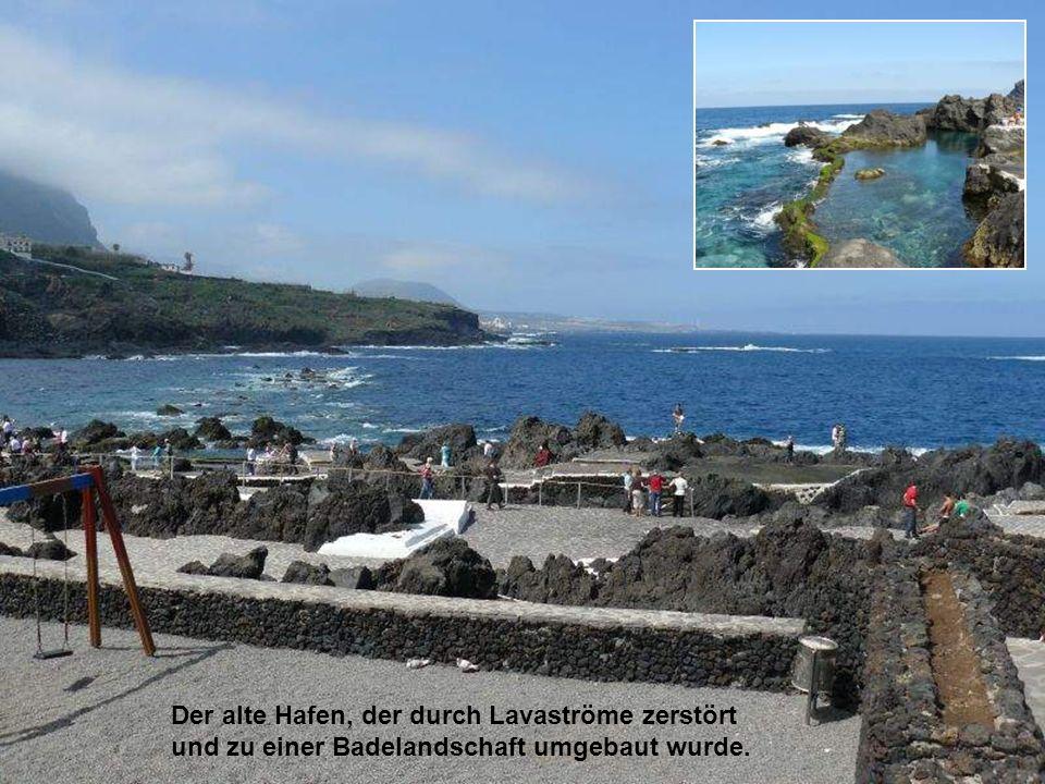 Der alte Hafen, der durch Lavaströme zerstört und zu einer Badelandschaft umgebaut wurde.