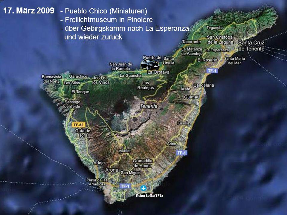Reina Sofia (TFS) 17. März 2009 - Pueblo Chico (Miniaturen) - Freilichtmuseum in Pinolere - über Gebirgskamm nach La Esperanza und wieder zurück