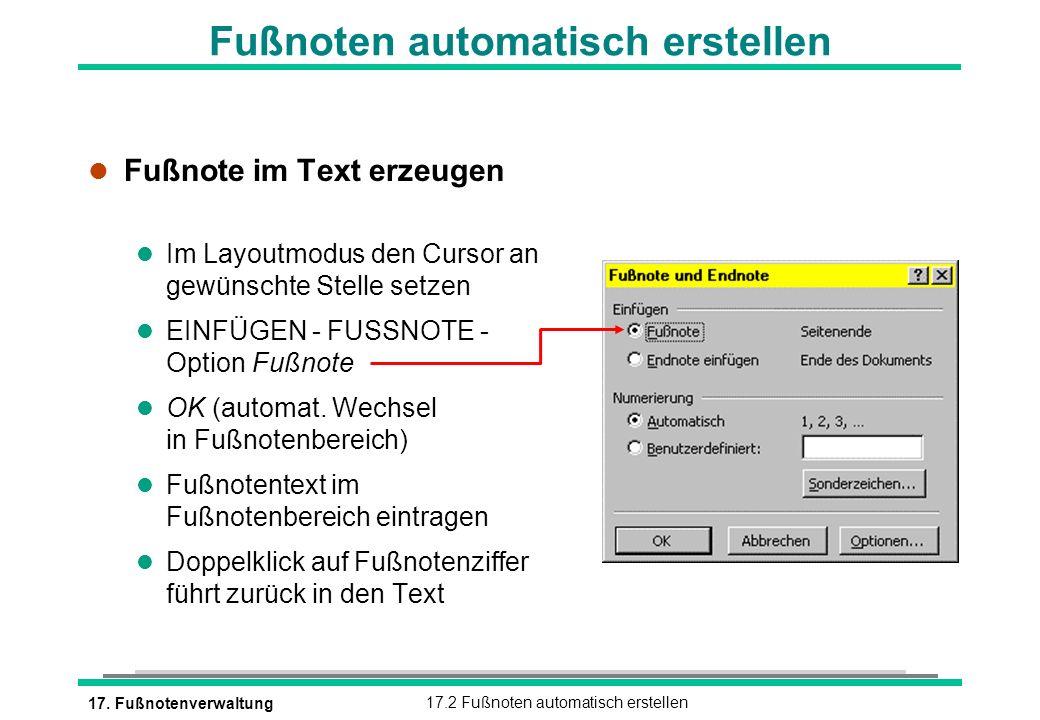 17. Fußnotenverwaltung17.2 Fußnoten automatisch erstellen Fußnoten automatisch erstellen l Fußnote im Text erzeugen l Im Layoutmodus den Cursor an gew