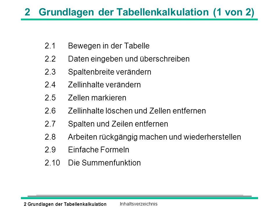 2 Grundlagen der TabellenkalkulationInhaltsverzeichnis 2 Grundlagen der Tabellenkalkulation (1 von 2) 2.1Bewegen in der Tabelle 2.2Daten eingeben und