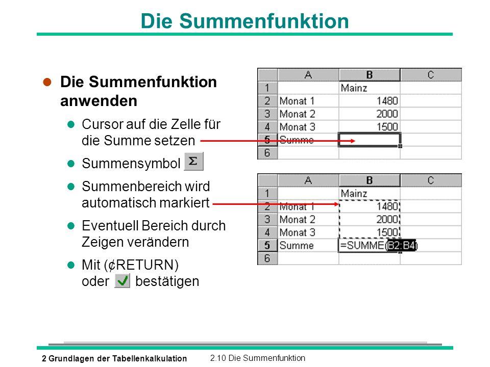2 Grundlagen der Tabellenkalkulation2.10 Die Summenfunktion Die Summenfunktion l Die Summenfunktion anwenden l Cursor auf die Zelle für die Summe setz