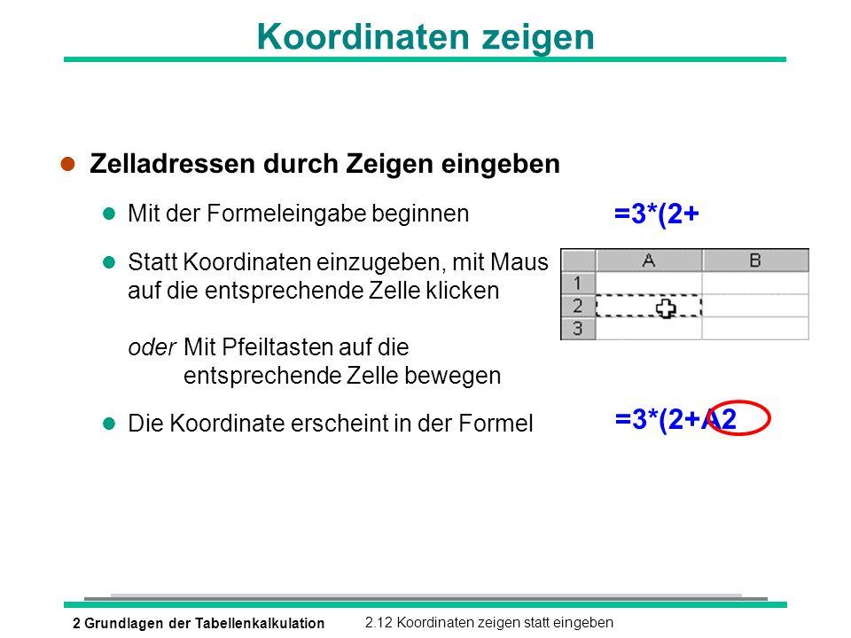 2 Grundlagen der Tabellenkalkulation2.12 Koordinaten zeigen statt eingeben Koordinaten zeigen l Zelladressen durch Zeigen eingeben l Mit der Formelein