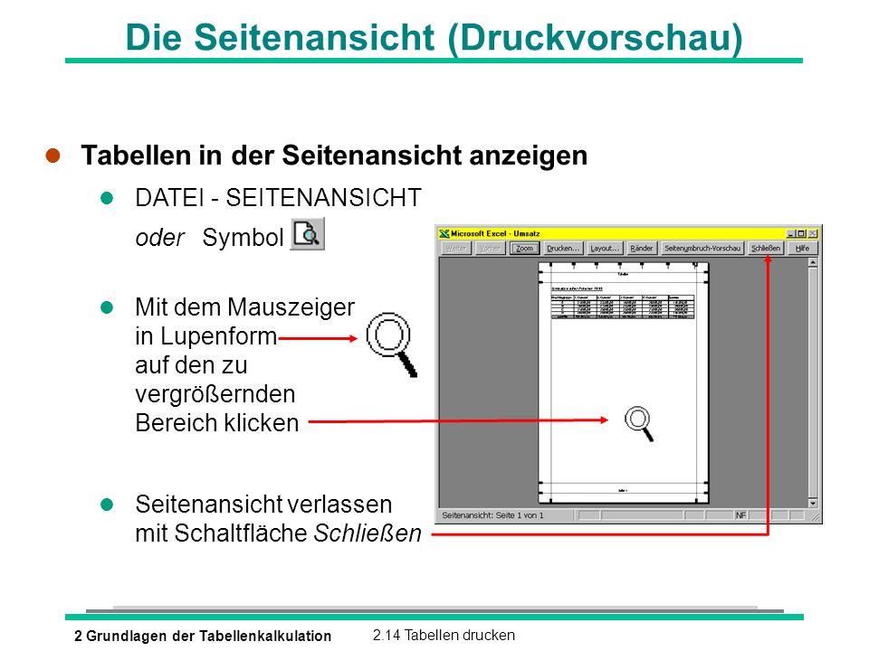 2 Grundlagen der Tabellenkalkulation2.14 Tabellen drucken Die Seitenansicht (Druckvorschau) l Tabellen in der Seitenansicht anzeigen l DATEI - SEITENA
