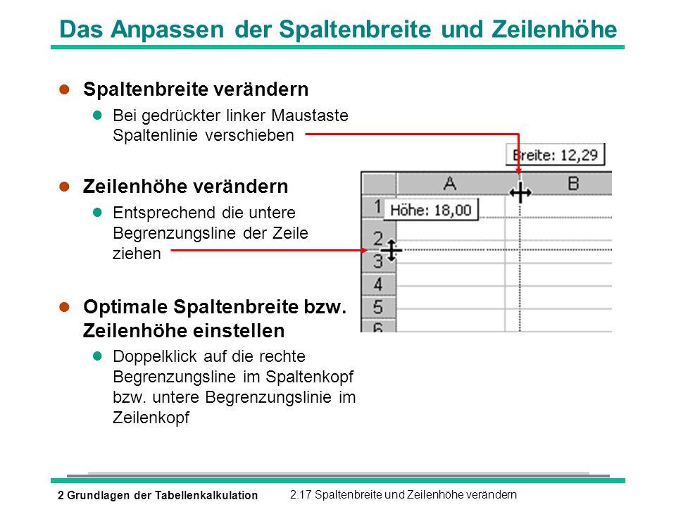 2 Grundlagen der Tabellenkalkulation2.17 Spaltenbreite und Zeilenhöhe verändern Das Anpassen der Spaltenbreite und Zeilenhöhe l Spaltenbreite veränder