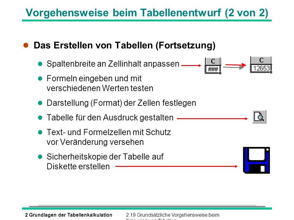 2 Grundlagen der Tabellenkalkulation2.19 Grundsätzliche Vorgehensweise beim Erzeugen von Tabellen Vorgehensweise beim Tabellenentwurf (2 von 2) l Das
