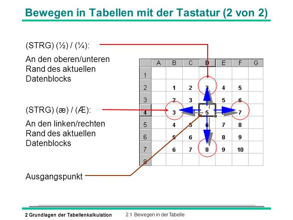 2 Grundlagen der Tabellenkalkulation2.1 Bewegen in der Tabelle Bewegen in Tabellen mit der Tastatur (2 von 2) (STRG) (½) / (¼): An den oberen/unteren