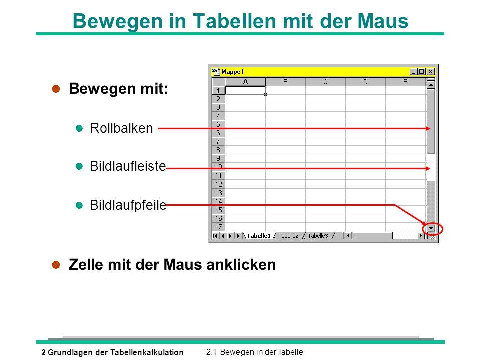 2 Grundlagen der Tabellenkalkulation2.1 Bewegen in der Tabelle Bewegen in Tabellen mit der Maus l Bewegen mit: l Rollbalken l Bildlaufleiste l Bildlau