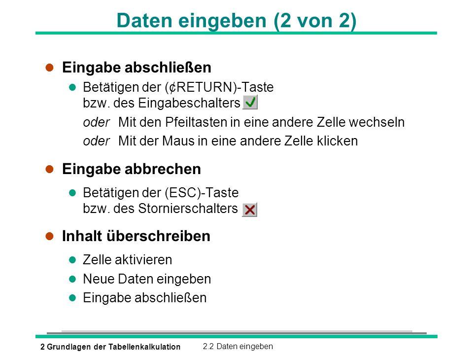 2 Grundlagen der Tabellenkalkulation2.2 Daten eingeben Daten eingeben (2 von 2) l Eingabe abschließen Betätigen der (¢RETURN)-Taste bzw. des Eingabesc