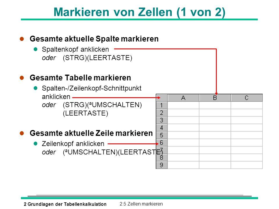 2 Grundlagen der Tabellenkalkulation2.5 Zellen markieren Markieren von Zellen (1 von 2) l Gesamte aktuelle Spalte markieren Spaltenkopf anklicken oder