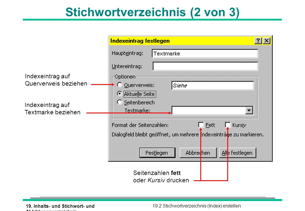 19. Inhalts- und Stichwort- und Abbildungsverzeichnis 19.2 Stichwortverzeichnis (Index) erstellen Stichwortverzeichnis (2 von 3) Seitenzahlen fett ode