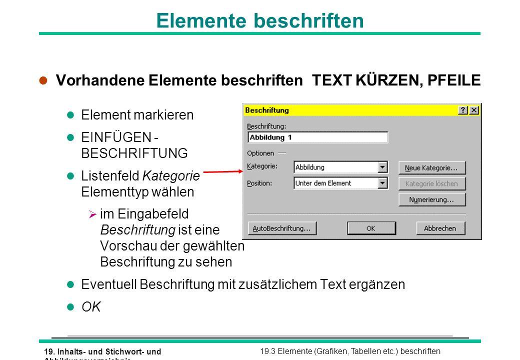 19. Inhalts- und Stichwort- und Abbildungsverzeichnis 19.3 Elemente (Grafiken, Tabellen etc.) beschriften l Vorhandene Elemente beschriften TEXT KÜRZE