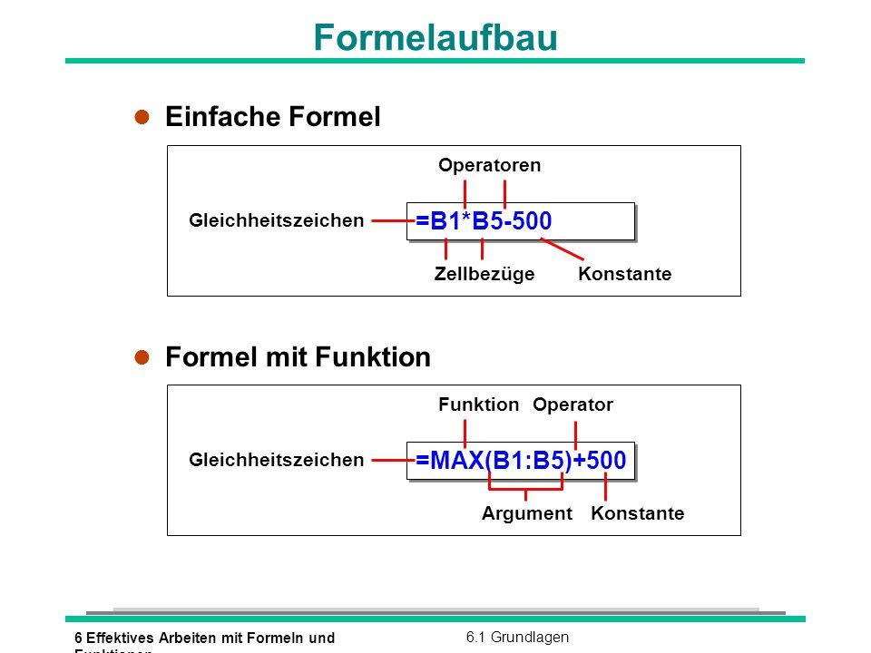 6 Effektives Arbeiten mit Formeln und Funktionen 6.2 Mit Funktionen rechnen Vorteil von Funktionen l Wozu dienen Funktionen l Funktionen = vorgefertigte Formeln l Funktionen ersetzen häufig komplizierte und umfangreiche Formeln l Funktionen ersetzen individuelle Anfertigung von Formeln Höchstes Angebot1.200.000 DM Niedrigstes Angebot700.000 DM Mittelwert932.000 DM Anzahl der Angebote5 =Mittelwert(C3:C10) =(C3+C4+C5+C6+C7+C8+C9+C10)/8 =MIN(B5:B9) =MITTELWERT(B5:B9) =ANZAHL(B5:B9) =MAX(B5:B9)