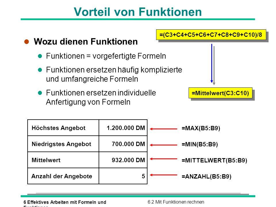 6 Effektives Arbeiten mit Formeln und Funktionen 6.2 Mit Funktionen rechnen Der Funktionsaufbau l Bestandteile von Funktionen =SUMME(B1:B5) =RUNDEN(133,235;0) Funktionsname Argumente