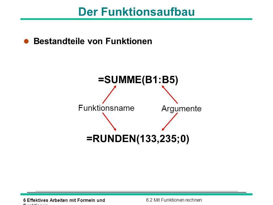 6 Effektives Arbeiten mit Formeln und Funktionen 6.2 Mit Funktionen rechnen Funktionsargumente l Übersicht der Argumente Argumententyp Beispiele Zahlen 70 80 2520 14% 13,3211 Zellbezüge D8 E9 A1 K15 A1:A5 C3:H3 Formeln (A3+B5)/2 C3+C4*2 Funktionen SUMME(A1:A5) Textkonstanten Umsatz 14 % Wahrheitswerte WAHR FALSCH