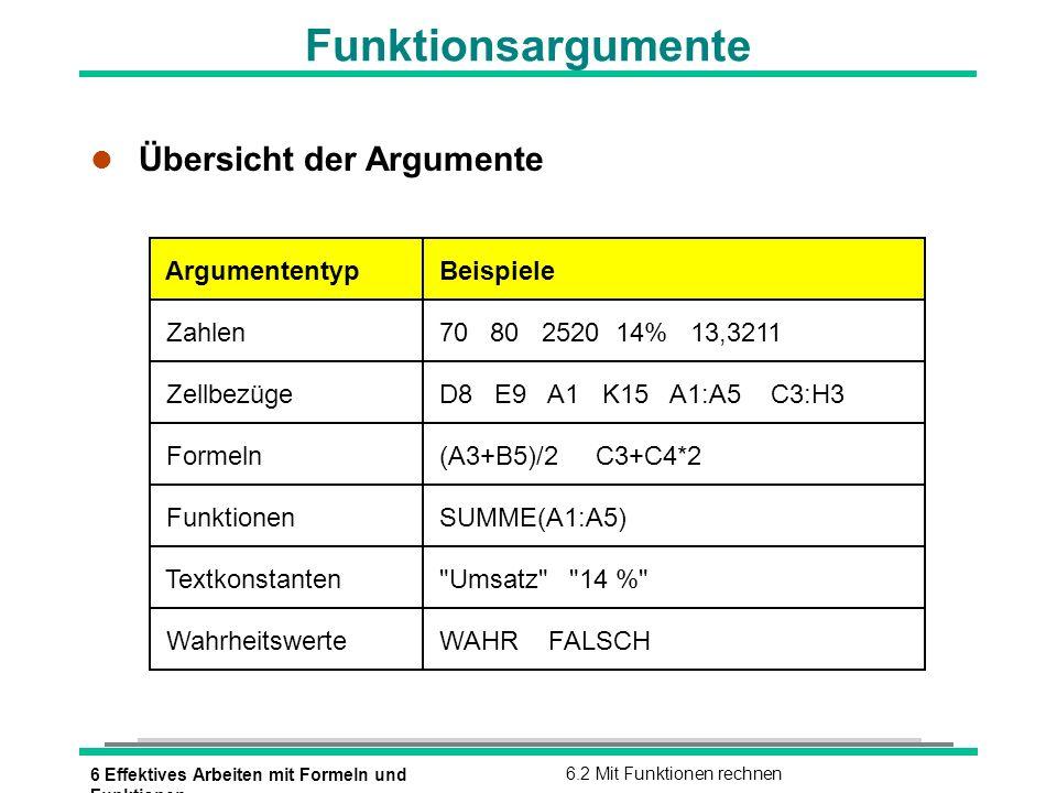 6 Effektives Arbeiten mit Formeln und Funktionen 6.2 Mit Funktionen rechnen Funktionsargumente l Übersicht der Argumente Argumententyp Beispiele Zahle
