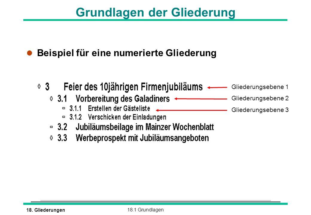 18. Gliederungen18.1 Grundlagen l Beispiel für eine numerierte Gliederung Grundlagen der Gliederung Gliederungsebene 1 Gliederungsebene 2 Gliederungse
