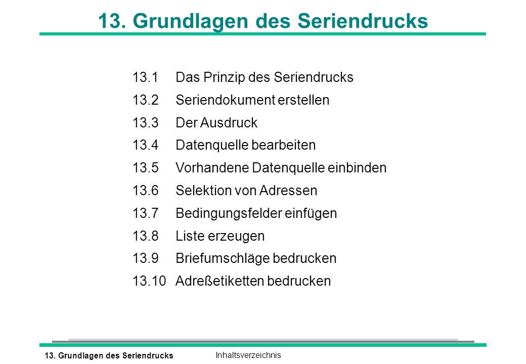 13. Grundlagen des SeriendrucksInhaltsverzeichnis 13. Grundlagen des Seriendrucks 13.1Das Prinzip des Seriendrucks 13.2Seriendokument erstellen 13.3De