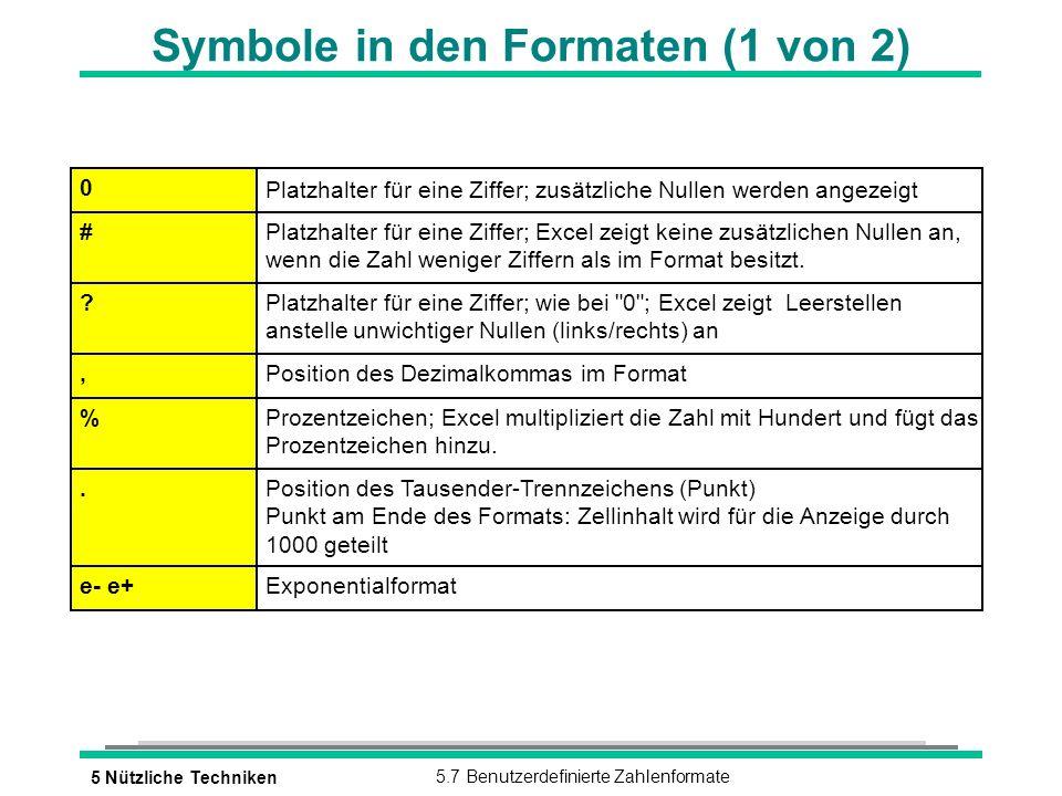 5 Nützliche Techniken5.7 Benutzerdefinierte Zahlenformate Symbole in den Formaten (1 von 2) 0 Platzhalter für eine Ziffer; zusätzliche Nullen werden a