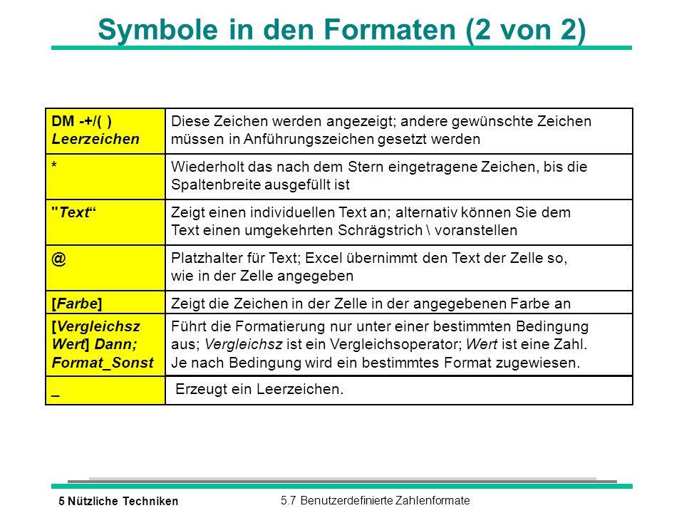 5 Nützliche Techniken5.7 Benutzerdefinierte Zahlenformate Symbole in den Formaten (2 von 2) * Text @ [Farbe] [Vergleichsz Wert] Dann; Format_Sonst _ DM -+/( ) Leerzeichen Diese Zeichen werden angezeigt; andere gewünschte Zeichen müssen in Anführungszeichen gesetzt werden Wiederholt das nach dem Stern eingetragene Zeichen, bis die Spaltenbreite ausgefüllt ist Zeigt einen individuellen Text an; alternativ können Sie dem Text einen umgekehrten Schrägstrich \ voranstellen Platzhalter für Text; Excel übernimmt den Text der Zelle so, wie in der Zelle angegeben Zeigt die Zeichen in der Zelle in der angegebenen Farbe an Führt die Formatierung nur unter einer bestimmten Bedingung aus; Vergleichsz ist ein Vergleichsoperator; Wert ist eine Zahl.