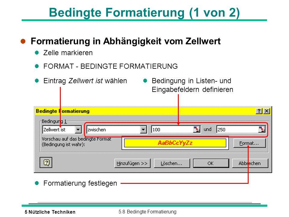 5 Nützliche Techniken5.8 Bedingte Formatierung Bedingte Formatierung (1 von 2) l Formatierung in Abhängigkeit vom Zellwert l Zelle markieren l FORMAT - BEDINGTE FORMATIERUNG l Formatierung festlegen l Eintrag Zellwert ist wählen l Bedingung in Listen- und Eingabefeldern definieren