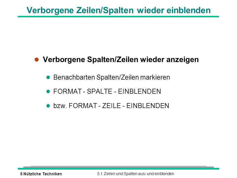 5 Nützliche Techniken5.1 Zeilen und Spalten aus- und einblenden Verborgene Zeilen/Spalten wieder einblenden l Verborgene Spalten/Zeilen wieder anzeigen l Benachbarten Spalten/Zeilen markieren l FORMAT - SPALTE - EINBLENDEN l bzw.