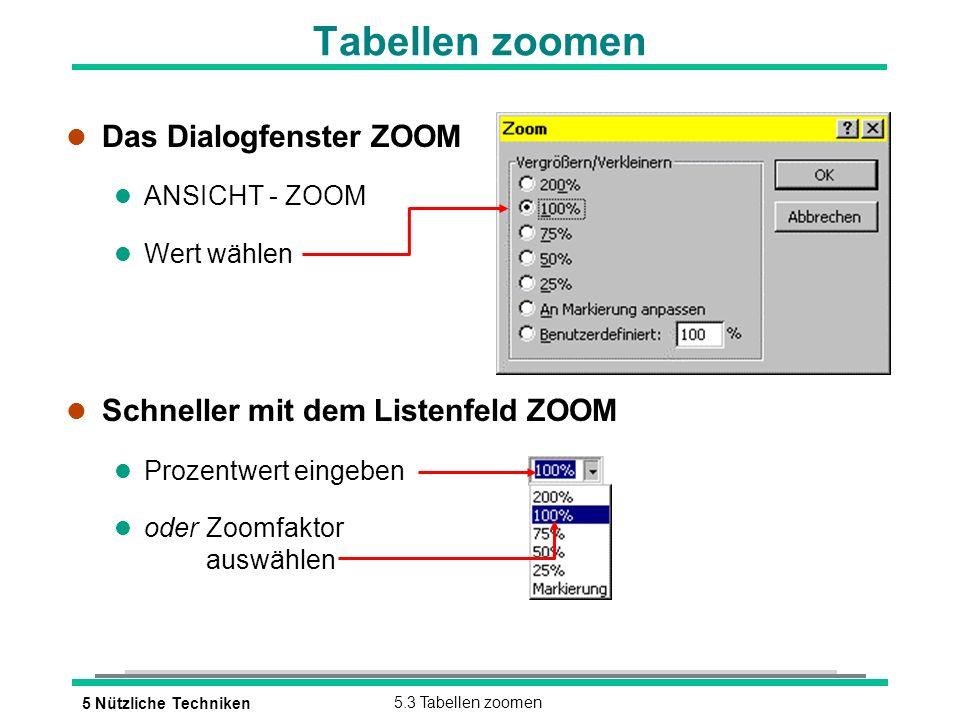 5 Nützliche Techniken5.3 Tabellen zoomen Tabellen zoomen l Das Dialogfenster ZOOM l ANSICHT - ZOOM l Wert wählen l Schneller mit dem Listenfeld ZOOM l Prozentwert eingeben l oderZoomfaktor auswählen