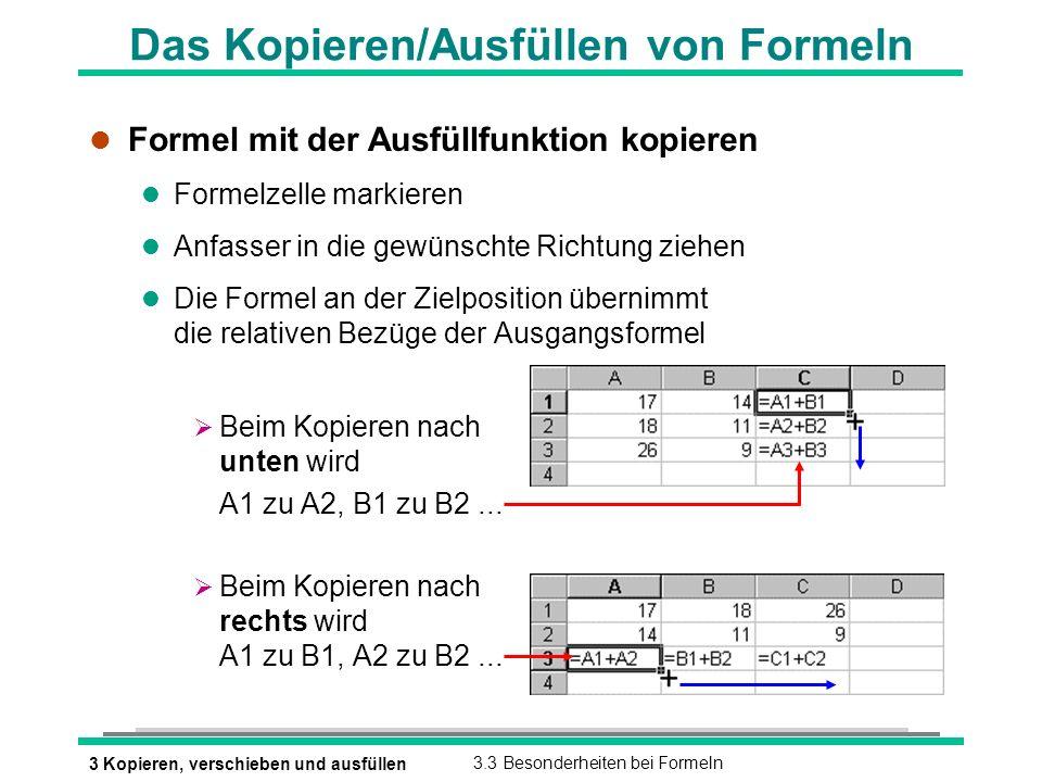 3 Kopieren, verschieben und ausfüllen3.3 Besonderheiten bei Formeln Das Kopieren/Ausfüllen von Formeln l Formel mit der Ausfüllfunktion kopieren l Formelzelle markieren l Anfasser in die gewünschte Richtung ziehen l Die Formel an der Zielposition übernimmt die relativen Bezüge der Ausgangsformel Beim Kopieren nach unten wird A1 zu A2, B1 zu B2...