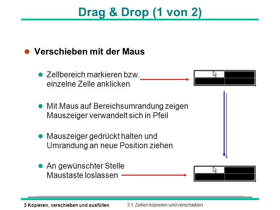 3 Kopieren, verschieben und ausfüllen3.1 Zellen kopieren und verschieben Drag & Drop (1 von 2) l Verschieben mit der Maus l Zellbereich markieren bzw.