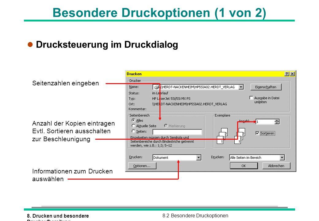 8. Drucken und besondere Druckaufbereitung 8.2 Besondere Druckoptionen Besondere Druckoptionen (1 von 2) l Drucksteuerung im Druckdialog Seitenzahlen