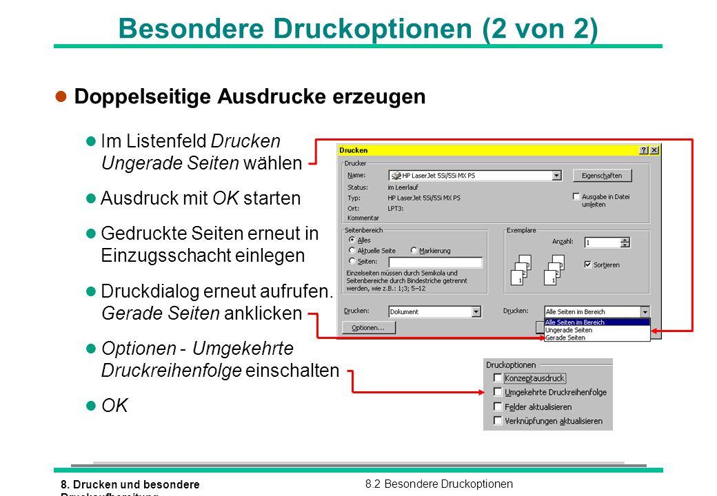 8. Drucken und besondere Druckaufbereitung 8.2 Besondere Druckoptionen Besondere Druckoptionen (2 von 2) l Doppelseitige Ausdrucke erzeugen l Im Liste