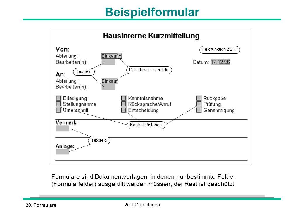 20. Formulare20.1 Grundlagen Beispielformular Formulare sind Dokumentvorlagen, in denen nur bestimmte Felder (Formularfelder) ausgefüllt werden müssen