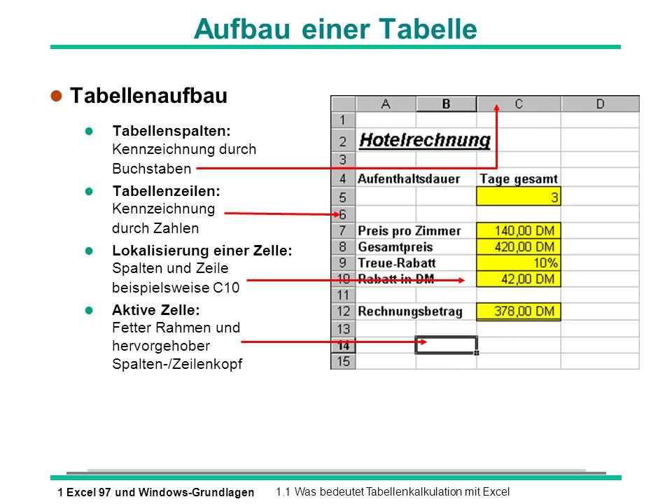 1 Excel 97 und Windows-Grundlagen1.1 Was bedeutet Tabellenkalkulation mit Excel Aufbau einer Tabelle l Tabellenaufbau l Tabellenspalten: Kennzeichnung
