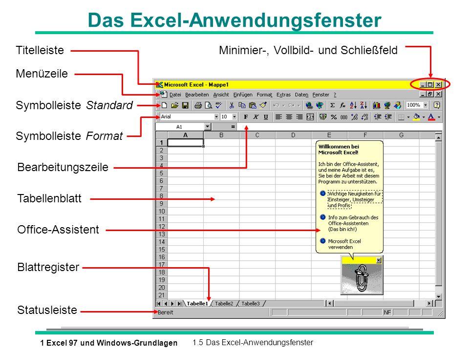 1 Excel 97 und Windows-Grundlagen1.5 Das Excel-Anwendungsfenster Das Excel-Anwendungsfenster Titelleiste Menüzeile Symbolleiste Standard Symbolleiste