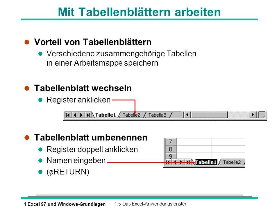 1 Excel 97 und Windows-Grundlagen1.5 Das Excel-Anwendungsfenster Mit Tabellenblättern arbeiten l Vorteil von Tabellenblättern l Verschiedene zusammeng