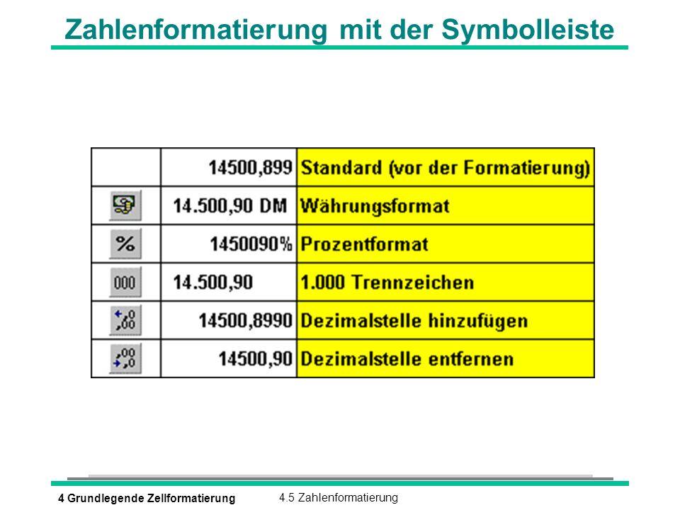 4 Grundlegende Zellformatierung4.5 Zahlenformatierung Zahlenformatierung mit der Symbolleiste