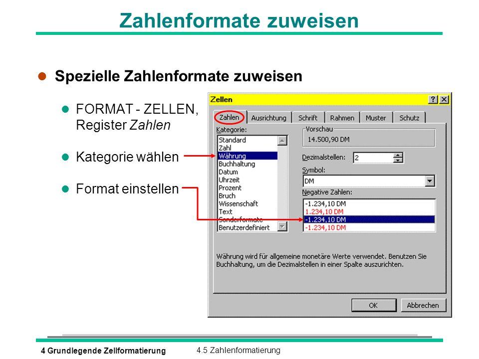 4 Grundlegende Zellformatierung4.5 Zahlenformatierung Zahlenformate zuweisen l Spezielle Zahlenformate zuweisen l FORMAT - ZELLEN, Register Zahlen l K