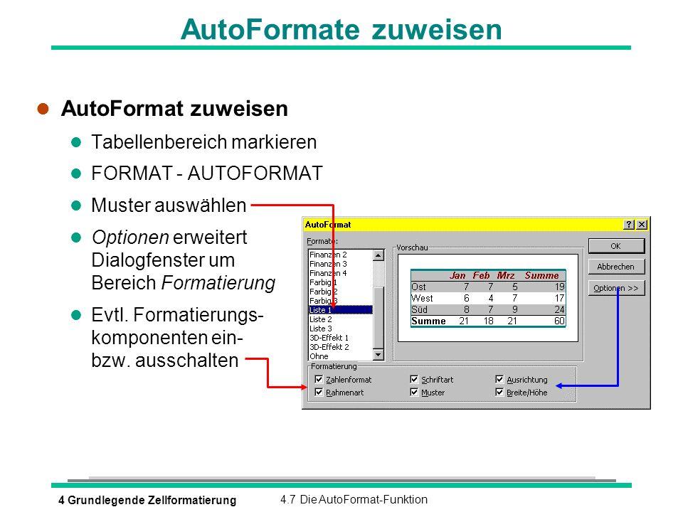 4 Grundlegende Zellformatierung4.7 Die AutoFormat-Funktion AutoFormate zuweisen l AutoFormat zuweisen l Tabellenbereich markieren l FORMAT - AUTOFORMA