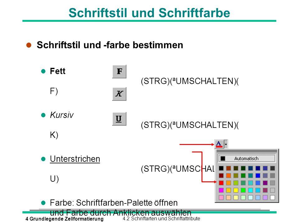 4 Grundlegende Zellformatierung4.2 Schriftarten und Schriftattribute Schriftstil und Schriftfarbe l Schriftstil und -farbe bestimmen Fett (STRG)(ªUMSC