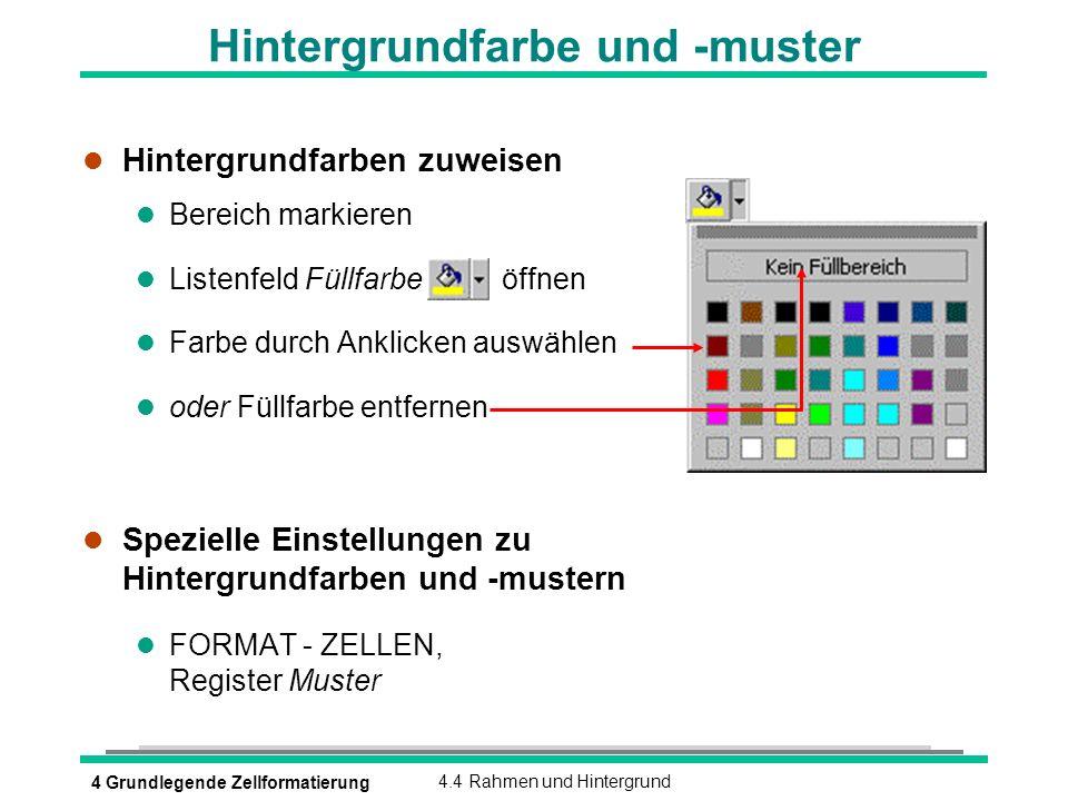 4 Grundlegende Zellformatierung4.4 Rahmen und Hintergrund Hintergrundfarbe und -muster l Hintergrundfarben zuweisen l Bereich markieren l Listenfeld F