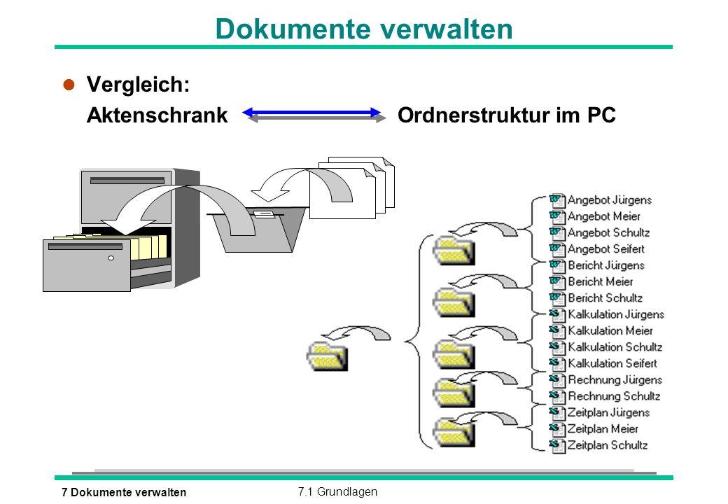 7 Dokumente verwalten7.1 Grundlagen Dokumente verwalten l Vergleich: Aktenschrank Ordnerstruktur im PC