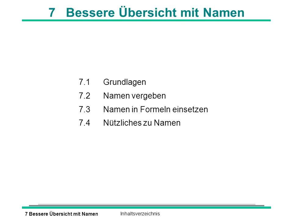 7 Bessere Übersicht mit NamenInhaltsverzeichnis 7 Bessere Übersicht mit Namen 7.1Grundlagen 7.2Namen vergeben 7.3Namen in Formeln einsetzen 7.4Nützliches zu Namen