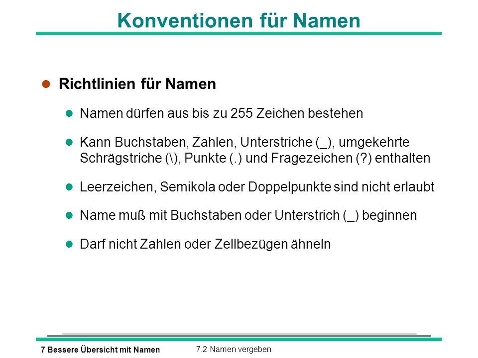 7 Bessere Übersicht mit Namen7.2 Namen vergeben Konventionen für Namen l Richtlinien für Namen l Namen dürfen aus bis zu 255 Zeichen bestehen l Kann Buchstaben, Zahlen, Unterstriche (_), umgekehrte Schrägstriche (\), Punkte (.) und Fragezeichen ( ) enthalten l Leerzeichen, Semikola oder Doppelpunkte sind nicht erlaubt l Name muß mit Buchstaben oder Unterstrich (_) beginnen l Darf nicht Zahlen oder Zellbezügen ähneln