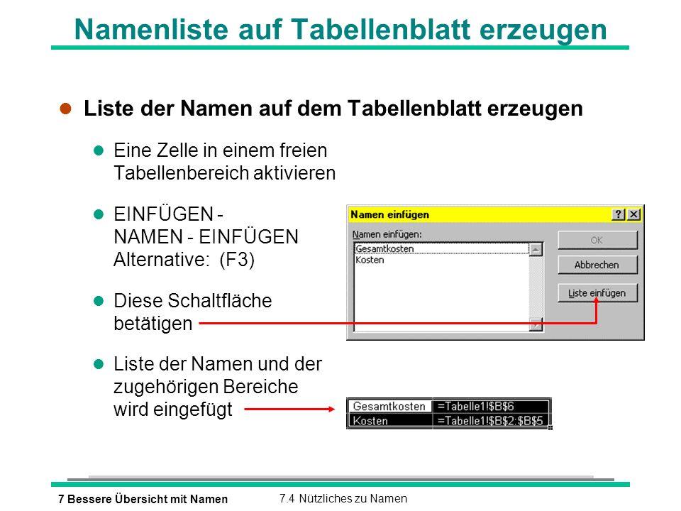 7 Bessere Übersicht mit Namen7.4 Nützliches zu Namen Namenliste auf Tabellenblatt erzeugen l Liste der Namen auf dem Tabellenblatt erzeugen l Eine Zelle in einem freien Tabellenbereich aktivieren EINFÜGEN - NAMEN - EINFÜGEN Alternative: (F3) l Diese Schaltfläche betätigen l Liste der Namen und der zugehörigen Bereiche wird eingefügt